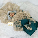 Rubybellebaby Lace Satin Swaddle Blanket with Bling Holder - Emerald Green/Gold