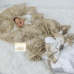 Rubybellebaby Lace Satin Swaddle Blanket with Bling Holder - White