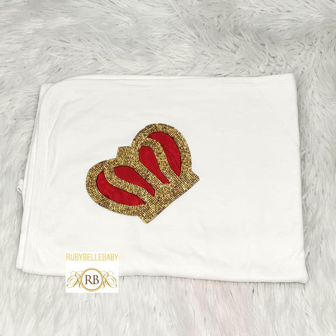 Newborn Infant Baby Bling Crown Receiving Blanket - All Colors