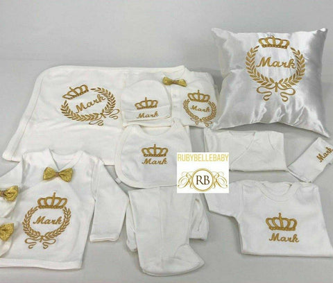 Rubybellebaby 11pcs Embriodery Prince + Pillow Set - Gold