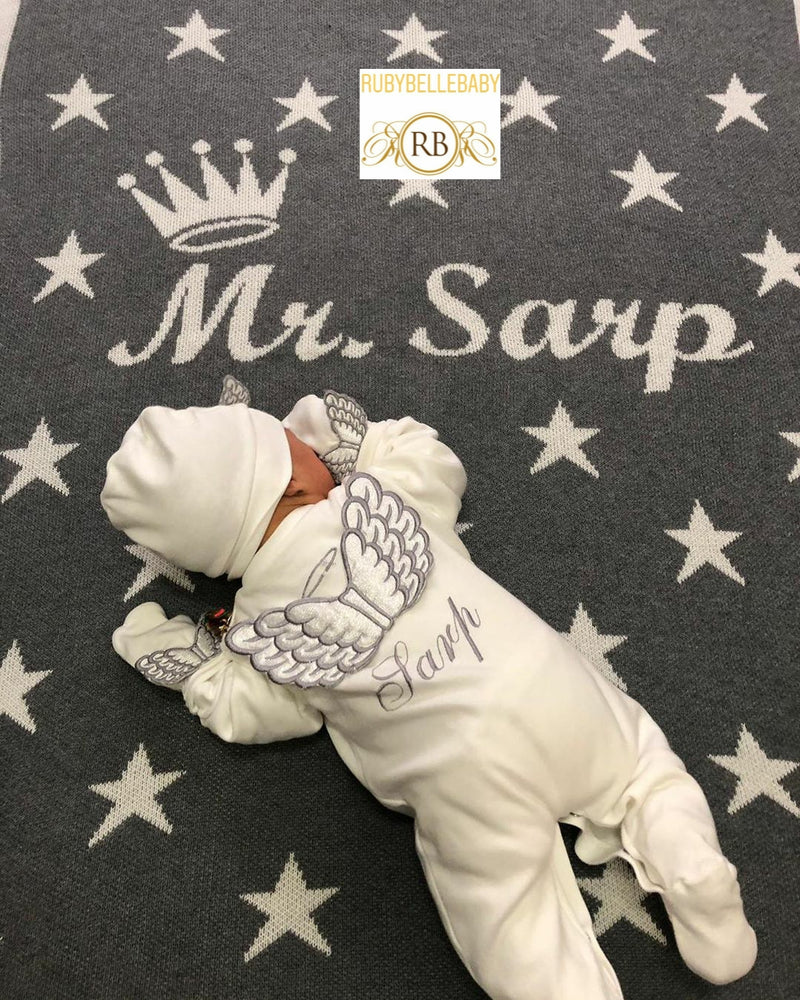 Starry Design No Rhinestone Custom Maxi Big Size Baby Throw Blanket - All Colors