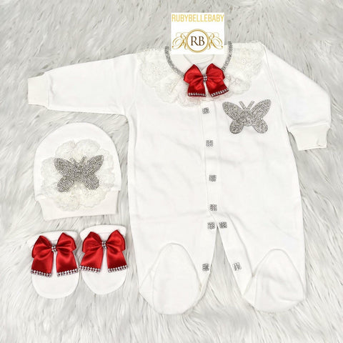 3pcs Butterfly Princess Set Red and Silver/ Red and Gold - RUBYBELLEBABY
