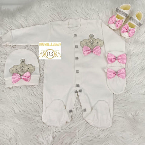 4pcs Jeweled Princess Set - White/Pink