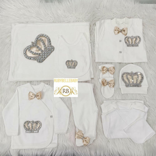 10pcs HRH Crown Set -Beige - RUBYBELLEBABY
