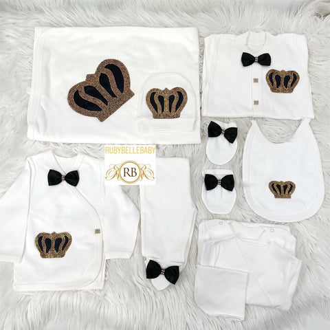Rubybellebaby 10pcs Bling Crown Prince Set - Black and Gold