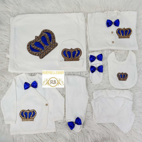 Rubybellebaby 10pcs Prince HRH Crown Set -Blue/Gold