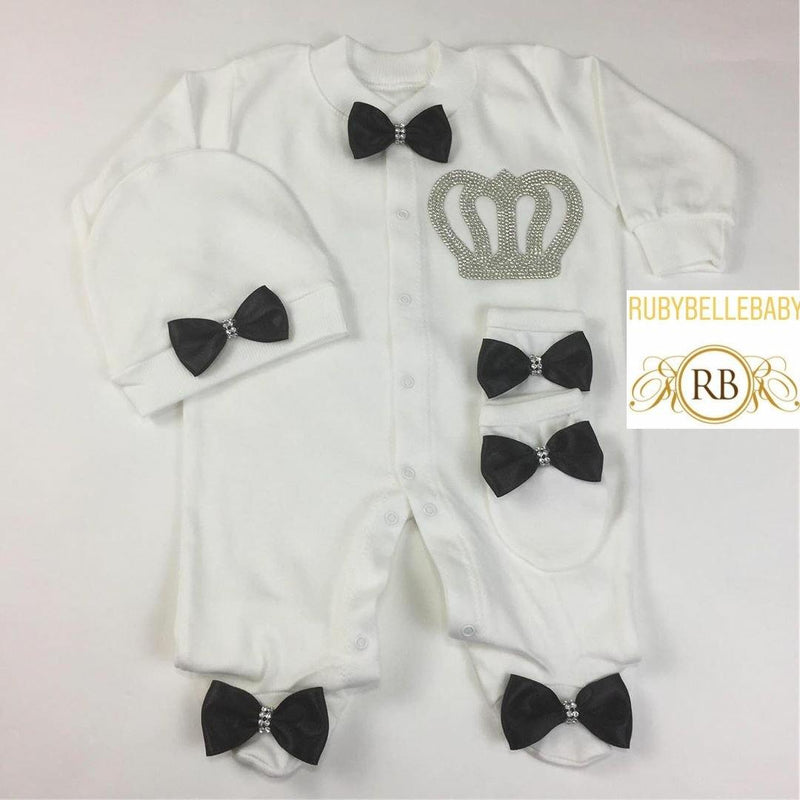 3pcs Prince Set Black and Silver - RUBYBELLEBABY