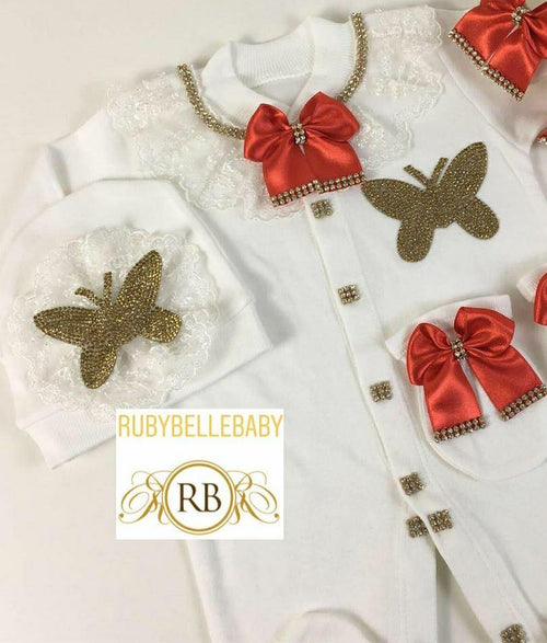 3pcs Butterfly Princess Set - Red - RUBYBELLEBABY