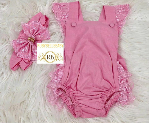 Baby Lace Rompers - Pink - RUBYBELLEBABY