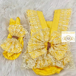 Baby Lace Rompers - Yellow - RUBYBELLEBABY