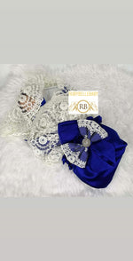 Rubybellebaby Lace Satin Swaddle Blanket with Bling Holder - Royal Blue