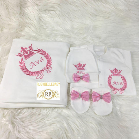 4pcs Baby Princess Embriodery Set - Pink