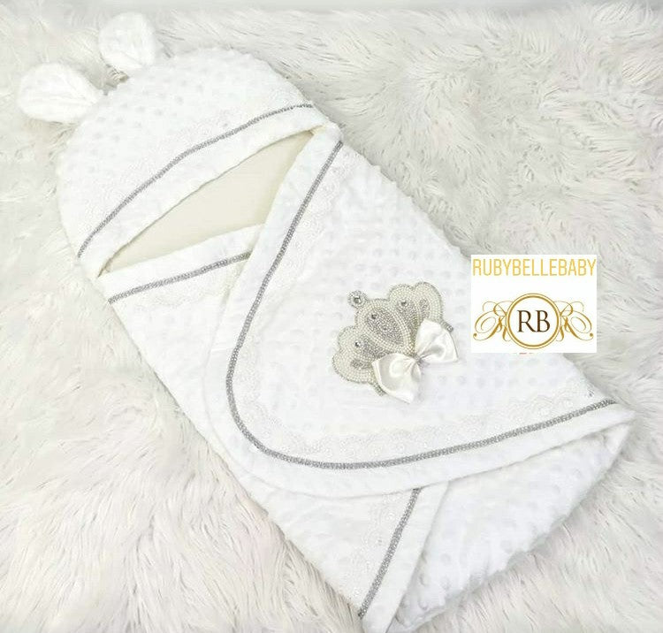 Jeweled Swaddle - White