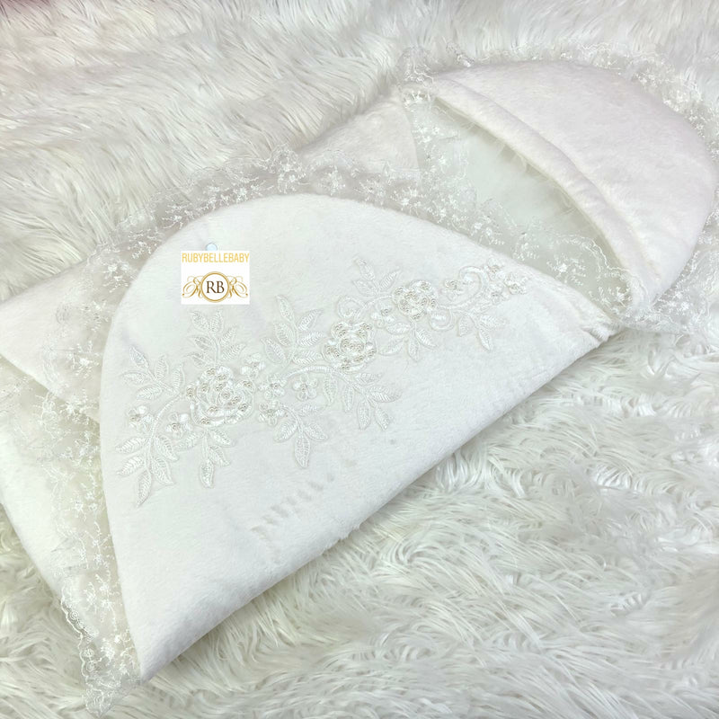 Embroidery Swaddle - White