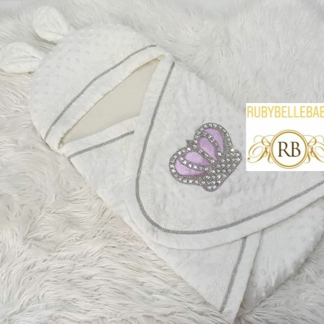 Rubybellebaby Bling Crown Bubble Swaddle Blanket - Lilac