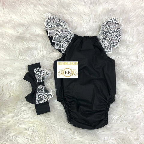 Baby Lace Romper and Hairband Set - Black