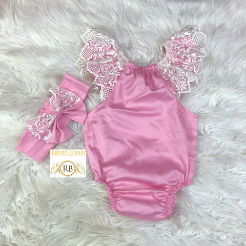 Baby Lace Romper and Hairband Set - Pink