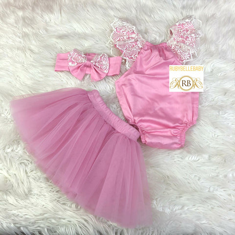 Baby Lace Romper and Skirt Set - Pink