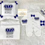 6pcs Mink Blanket + Pillow Prince HRH Crown Set - Royal Blue and Silver / Royal and Gold
