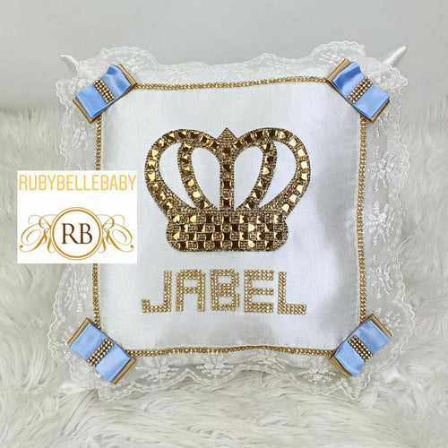 Prince Crown Baby Pillow - White/Blue - RUBYBELLEBABY