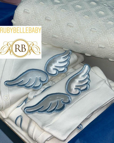 3pcs NON- Embellished Embriodery Angel Wing Set - RUBYBELLEBABY