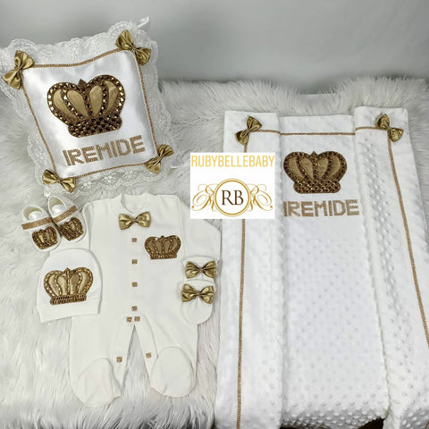 6pcs Prince Bling Crown Mink Blanket + Pillow Set - Gold