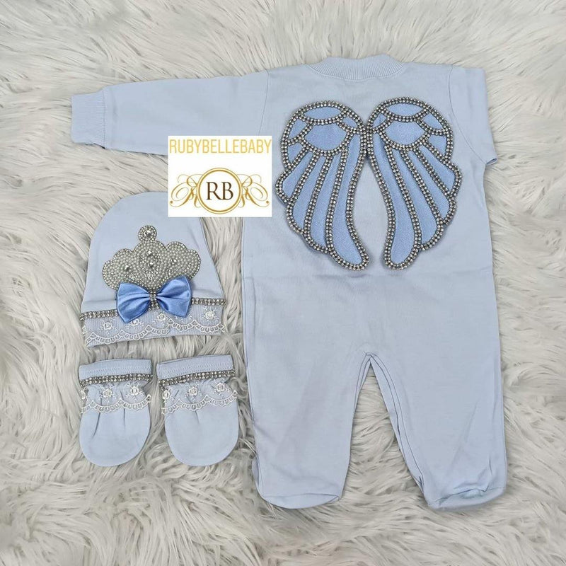 4pcs Jeweled Wings Set - Blue - RUBYBELLEBABY