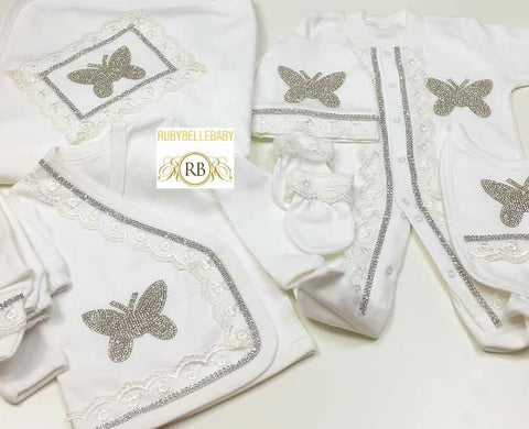 Rubybellebaby 10pcs Lace Butterfly Princess Set - White