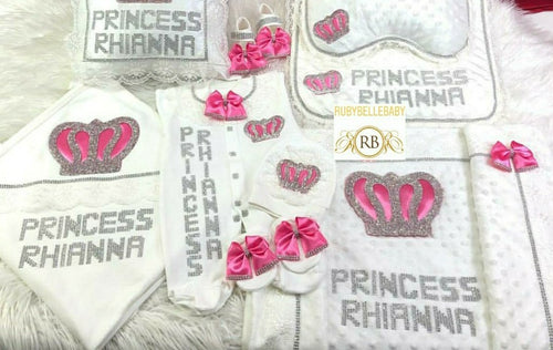 8pcs Royal Crown Set - Pink/Silver