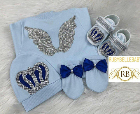 4pcs Bling Bling Angel Wings Prince Bling Crown Set - Blue
