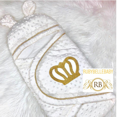 Prince Crown Minky Swaddle - Gold