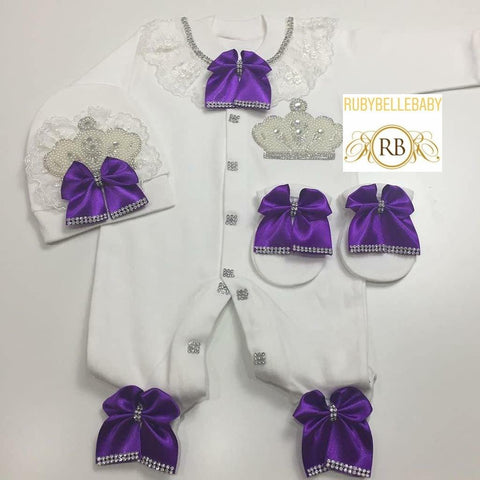 3pcs Lace Jeweled Bow Princess Set - Purple