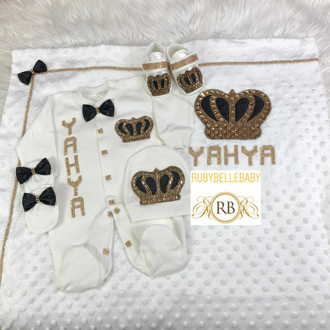5pcs Prince HRH Crown Set - Black/Gold