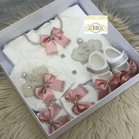 4pcs Princess Jeweled Crown Set - Blush