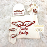 4pcs Embroidery Angel Wings Princess Set - Red
