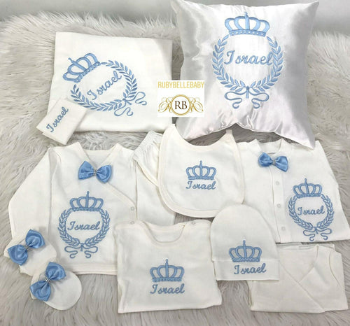 11pcs Embroidery Crown Set - Blue - RUBYBELLEBABY