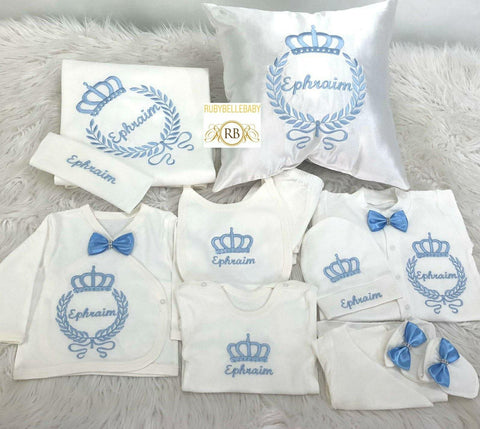 Rubybellebaby 11pcs Embriodery Prince + Pillow Set - Light Blue