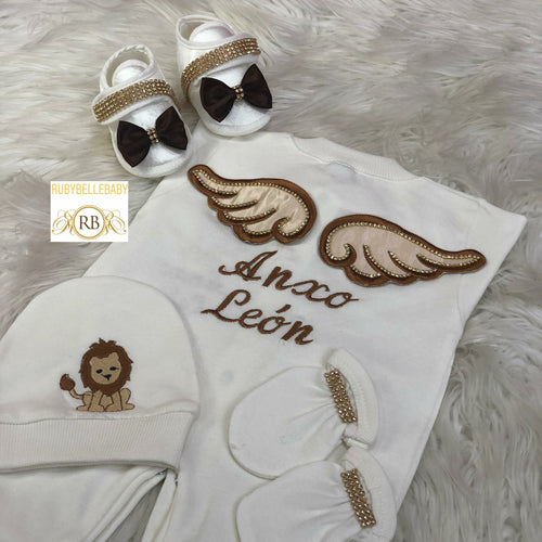 5pcs Wing/Lion Blanket  Set - Brown