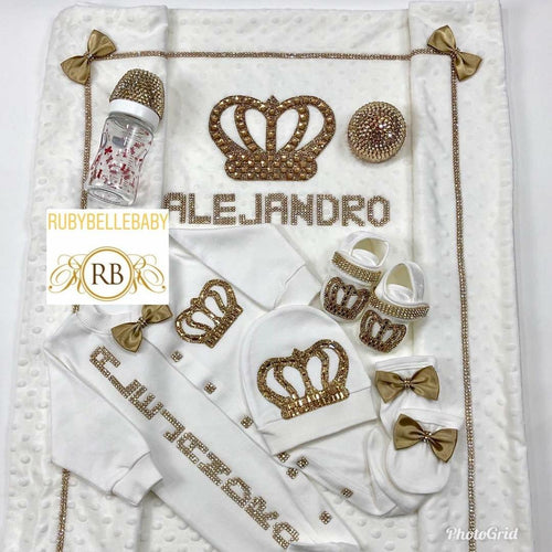 7pcs HRH Crown/Bottle Set - Gold - RUBYBELLEBABY