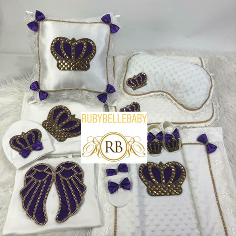 8pcs Pillow + Mat Pillow + Mink Blanket Princess Bling Angel Wings Crown Set - Purple