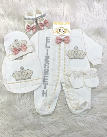5pcs Lace Jeweled Bow Princess Set - Pink