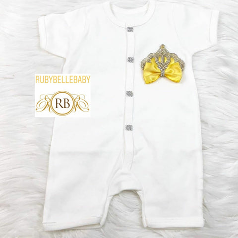 Short Sleeve Romper Princess Crown Set - Yellow
