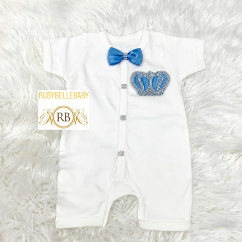 Short Sleeve Romper Prince Crown Set - Light Blue