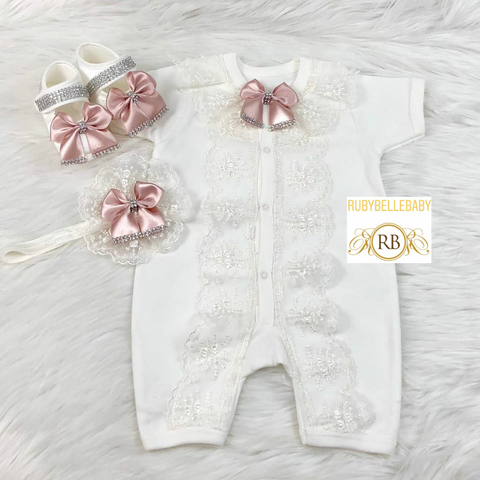 Lacey Short Sleeve Bow Style Romper Princess Crown and shoe Set - Blush Pink