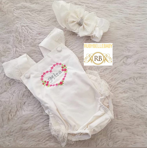 Baby Lace Rompers - White