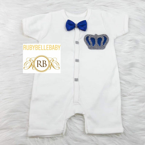 Short Sleeve Romper Prince Crown Set - Royal Blue