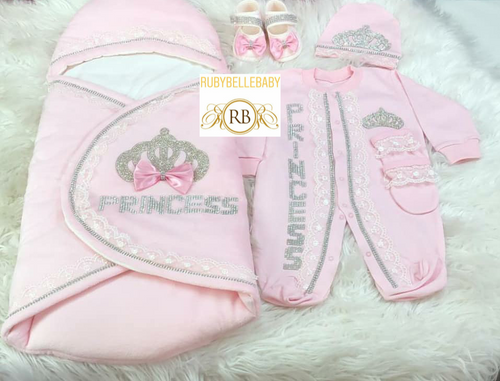 5pcs Princess Crown Swaddle Set - Pink - RUBYBELLEBABY