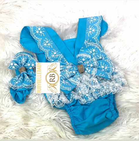 Baby Lace Rompers - Blue
