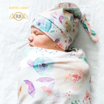 Flower Pattern Organic Newborn Print Infant Baby Soft High Quality Coocon and Hat Set