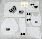 Rubybellebaby 10pcs Bling Crown Prince Set - Black and Silver